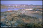 Dye waste dumped on river banmk, Vapi