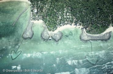 Aerial view of traditional fish traps, Tarawa, Kiribati, South Pacific.