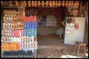 Plastic flip-flop shop Mettur, Tamil Nadu, India.
