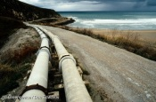 Outflow pipe from the Solvay plant, Torrelavega, Cantabria, North Spain.