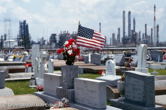 Graveyard in front of Union Carbide plant, Louisiana.