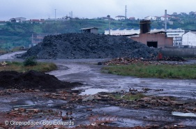 Zinc & aluminium dust & slag awaiting processing by Remetal, Asua near Bilbao. Remetal imports this waste. North Spain.