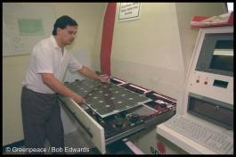 Assembly of photovoltaic cells, BP Solar, Sydney, Australia